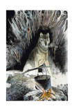 A Wolf Visits Campfire During Arctic Trek Undertaken by Keith Nyitray Reproduction procédé giclée par Jack Unruh