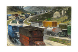 Cars, Trucks, and Military Vehicles Jam a Dual Highway Giclee Print by Thornton Oakley