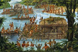 Olmecs Use the River for Transportation of Sculptures and Other Goods Giclee Print by Felipe Davalos