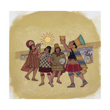 Inca Priests Offer Corn Beer to the Sun Giclee Print by Ned M. Seidler