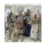 Painting of Harriet Tubman as She Escorts Escaped Slaves into Canada Giclee Print by Jerry Pinkney