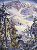 U.S. Ski Troops Train in the Snow for Mountain Work Giclee Print by Andre Durenceau