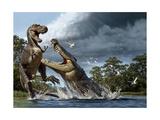 A Deinosuchus, an Alligator Ancestor, Lunges at an Albertosaurus Impression giclée par Raul D. Martin