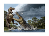 A Deinosuchus, an Alligator Ancestor, Lunges at an Albertosaurus Giclee Print by Raul D. Martin