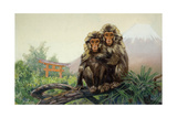 Painting of a Pair of Japanese Macaques with Mount Fuji in Distance Giclee Print by Elie Cheverlange