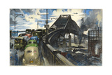 Military Transport Trucks Mingle with Heavy Traffic on a Bridge Giclee Print by Thornton Oakley
