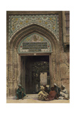 Civilians Sit Outside the Ornate Entrance of a Baghdad Mosque Photographic Print by Eric Keast Burke