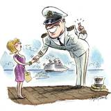 A Cruise Boat Captain Leers at a Passenger, Crossing His Fingers Giclee Print by Gary Hovland