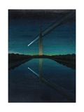 A Painting by Charles Bittinger Depicts a Comet with a Tail Giclee Print by Charles Bittinger