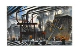 Men Pump Gasoline into Tanker Ships from Dockside Pipes Giclee Print by Thornton Oakley