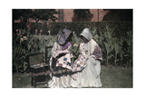 Two Voortrekker Girls Sew in a Pietermaritzburg Garden Photographic Print by Melville Chater
