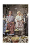 Two Women Sell Fruit at the Local Market for a Low Price Photographic Print by Hans Hildenbrand