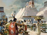 A Bustling Marketplace in the Aztec Capital of Tenochtitlan Giclée-tryk af H. Tom Hall