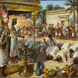 Painting Depicts Kushite King Piye Accepting the Homage of a Princess Giclee Print by James M. Gurney