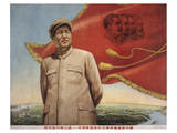 Mao Zedong Standing in Front of Red Flag Posters