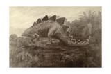 Charles R. Knight - A Painting of a Dinosaur - Giclee Baskı
