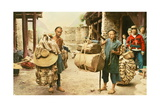 Two Bamboo Merchants Sell their Products on This Min Valley Street Photographic Print by E. H. Wilson
