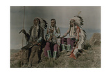 Three American Indians Pose at a Lookout in Montana Photographic Print by Edwin L. Wisherd