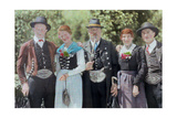 An Austrian Family Poses Together in Traditional Attire Photographic Print by Hans Hildenbrand