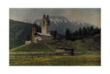 The Church of St. Gian on a Hill at the Foot of the Bernina Mountains Photographic Print by Hans Hildenbrand