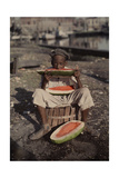 An Informal Portrait of a Young New Orleans Boy Eating Watermelon Photographic Print by Edwin L. Wisherd