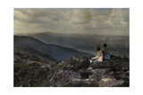 Two Kids Sit Atop Mount Mansfield Looking at the View Photographic Print by Clifton R. Adams