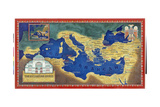 An Artist's Recreation of the Byzantine Empire under Justinian I Giclée-tryk af Jean-Leon Huens