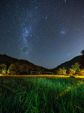 The Milky Way Above a Football Goal Post at Night in Ubatuba Photographic Print by Alex Saberi