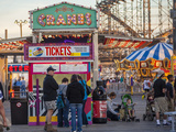 Rides and Ticket Booths at Wildwood Beach at Twilight Photographic Print by Richard Nowitz