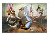 Circus Poster with Female Aerial Acrobats Prints