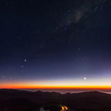 Venus, Mercury, Bright Stars Alpha and Beta Centauri, and the Milky Way over the Observatory Road Photographic Print by Babak Tafreshi