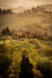 Vineyards and Rolling Hills Near San Gimignano at Dawn Photographic Print by Tino Soriano
