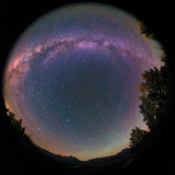Fisheye View of the Milky Way and Green Airglow over the Teton Range and Snake River Photographic Print by Babak Tafreshi