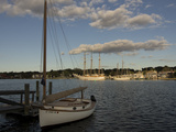 A Sailboat and Schooners Moored in Mystic Photographic Print by Richard Olsenius