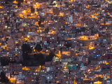La Paz at Dusk with Patchwork Lit Up Buildings Photographic Print by Alex Saberi