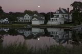 Houses and the Full Moon Reflected in a Pond Photographic Print by Richard Olsenius