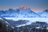 Snowy Peaks in Grand Teton National Park Reflect Sunset Colors Photographic Print by Robbie George