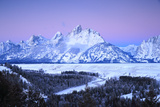Snowy Peaks in Grand Teton National Park Reflect Sunrise Colors Photographic Print by Robbie George