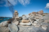 Stones Stacked by Tourists on the Beach at 'The Baths' on Virgin Gorda Photographic Print by Matt Propert