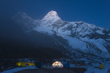 Ama Dablam Base Camp in the Everest Region of Nepal Glows under Stars Photographic Print by Alex Treadway