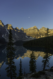 Rugged Mountains Reflected in Moraine Lake, and the Rising Moon Photographic Print by Jonathan Irish