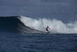 Surfing a Wave Off Tahiti Island Photographic Print by Andy Bardon
