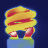 Thermal Image of a Compact Fluorescent Light Bulb Photographic Print by Tyrone Turner