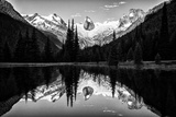 The Bugaboo Spires and Evergreen Trees Reflected in a Mountain Lake Photographic Print by Jonathan Irish
