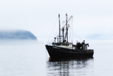 A Fishing Boat Named Thunder Bay, Anchored in Thick Fog in Frenchman Bay Photographic Print by Robbie George