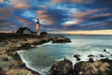A Dramatic Sky at Sunset over the Portland Head Light Photographic Print by Robbie George