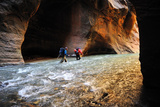 Two Men Hiking Through the Virgin River Narrows in Zion National Park Photographic Print by Keith Ladzinski