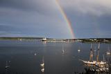 A Double Rainbow Falls over South Portland, Maine on a Summer Day Stampa fotografica di Robbie George