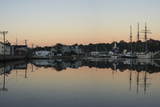 Boats, Houses and Sunlight Reflect in the Mystic River at Sunset Photographic Print by Richard Olsenius