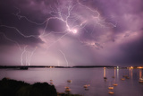 Lightning Strikes Off the Coast of Portland, Maine Fotografisk trykk av Robbie George